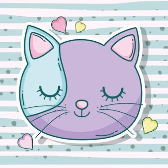 Cabeza de gato mascota animal con corazones
