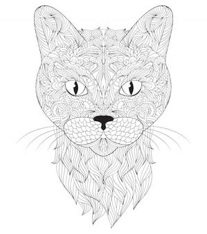Cabeza de gato sobre fondo blanco.