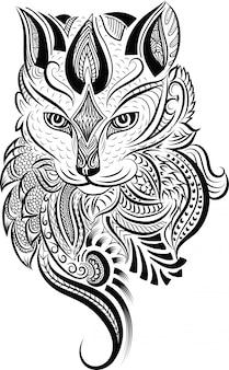 Cabeza de gato zentangle estilizado doodle