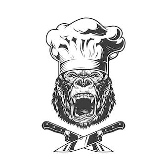 Cabeza de gorila chef enojado vintage