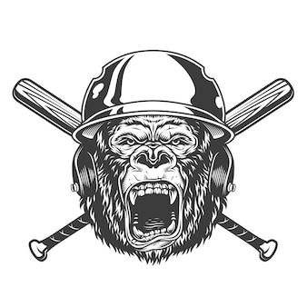 Cabeza de gorila enojado en casco de béisbol