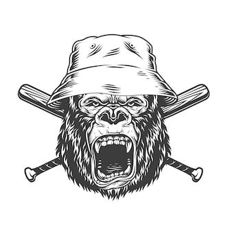 Cabeza de gorila enojado con sombrero de panamá