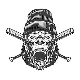 Cabeza de gorila enojado vintage en gorro