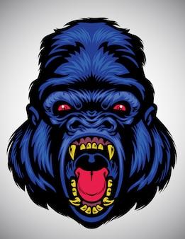 Cabeza de gorila enojado