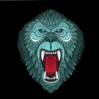 Cabeza de gorila estilizada zentangle