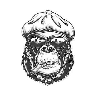 Cabeza de gorila en estilo monocromo