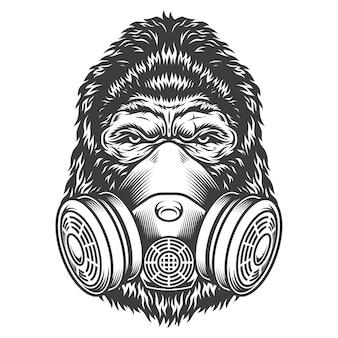 Cabeza de gorila monocromo vintage