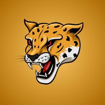 Cabeza de guepardo amarillo en ángulo lateral