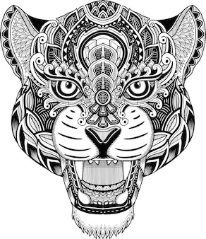 Cabeza de guepardo estilo zentangle blanco y negro