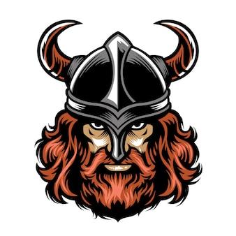 Cabeza de guerrero vikingo barbudo
