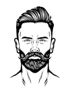 Cabeza de hombre dibujado a mano con barba y peinado copete