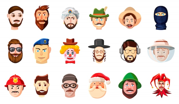 Cabeza de hombre disfrazada. conjunto de dibujos animados de cabeza de hombre