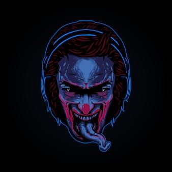 Cabeza de hombre con una lengua fuera con una ilustración de auriculares