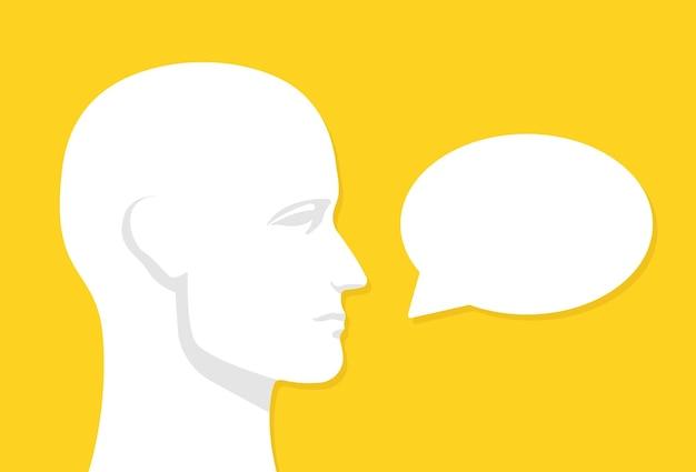 Cabeza humana con bocadillo, icono de comunicación