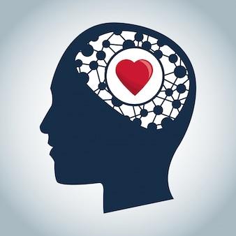 Cabeza humana cerebro función del corazón médica