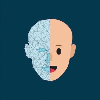 Cabeza humana y moderna cibernética estilizada humana.