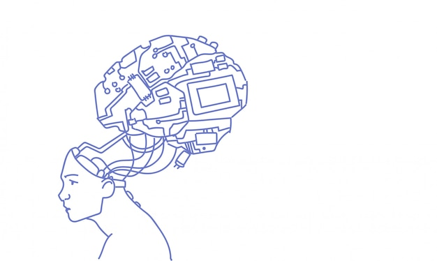 Cabeza humana con moderno cyborg cerebro tecnología de inteligencia artificial doodle de boceto