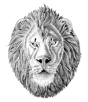 Cabeza de león blanco y negro en estilo grabado