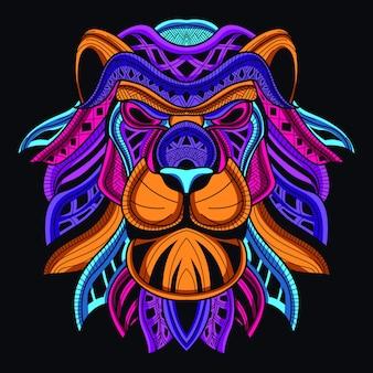 Cabeza de león decorativa en color neón resplandor