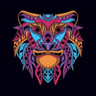 Cabeza de león decorativa de color neón.