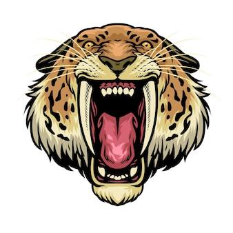 Cabeza de león dientes de sable enojado