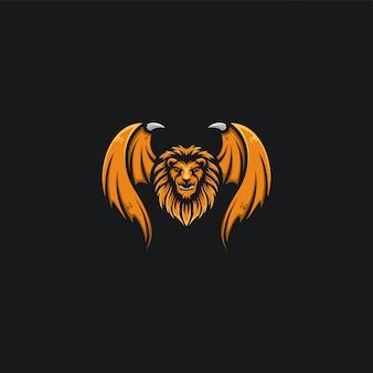 Cabeza de león y diseño de ala ilustración
