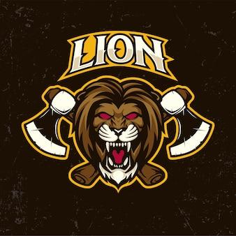 Cabeza de león enojado con ilustración de dibujos animados de logotipo de mascota de hacha