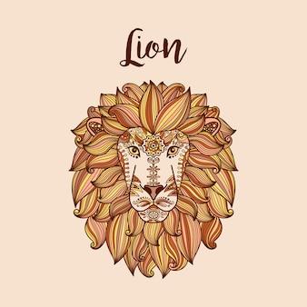 Cabeza de león con estampado floral étnico.