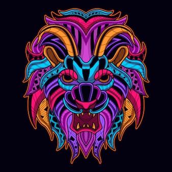 Cabeza de león en el estilo de arte de color neón