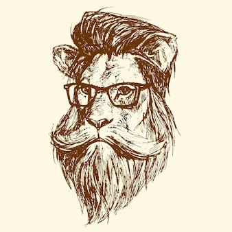 La cabeza de un león con gafas, dibujada en tinta. ilustración vectorial