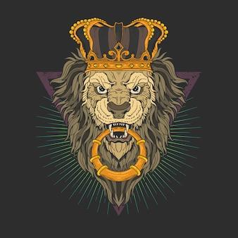Cabeza de león con gráfico de ilustración de corona