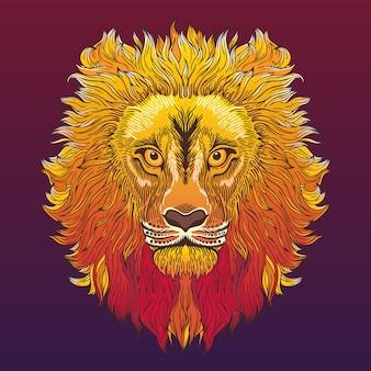 Cabeza de león. ilustración en estilo étnico, tribal.