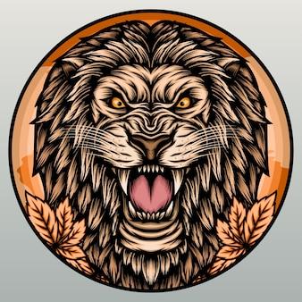 Cabeza de león impresionante.