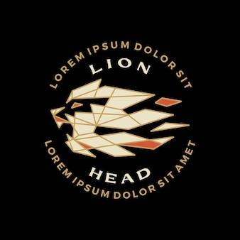 Cabeza de león insignia geométrica camiseta tee merch logo vector icono ilustración