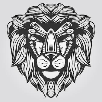 Cabeza de león lineart