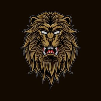 Cabeza de león logo mascota