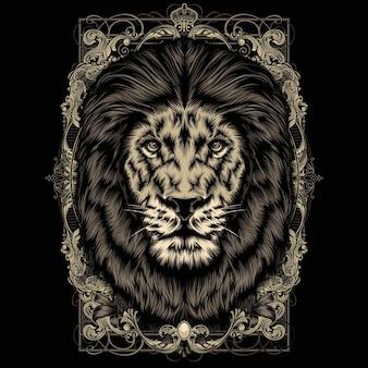 Cabeza de león con marco decorativo