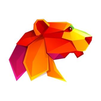 Cabeza de león personaje de baja poli.