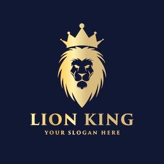 Cabeza de león real de lujo con diseño de logotipo de corona