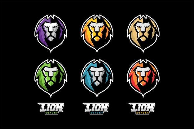 Cabeza de león set vector colorido