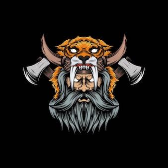 Cabeza de león vikingo mascota ilustración
