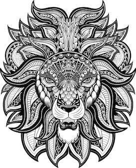 Cabeza de león zentangle estilo blanco y negro