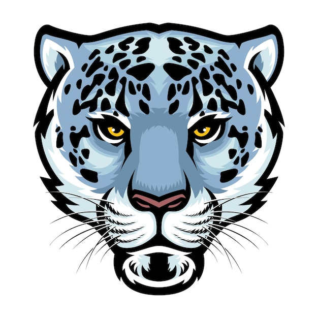 Cabeza de leopardo de las nieves aislado en blanco