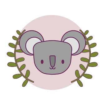 Cabeza de lindo koala en marco circular con corona de hojas