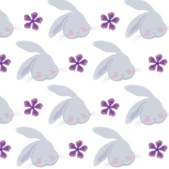 Cabeza de lindo personaje animal de conejo.