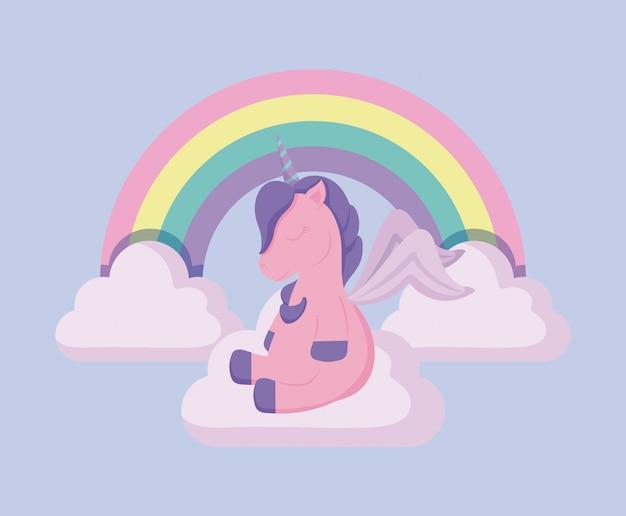 Cabeza lindo unicornio de cuento de hadas con arco iris y nubes