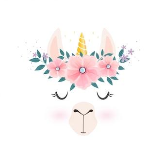 Cabeza de llama linda con cuerno de unicornio.
