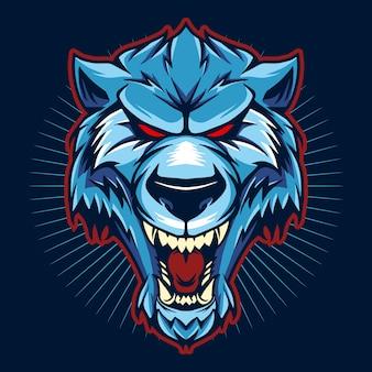 Cabeza de lobo azul sobre fondo oscuro