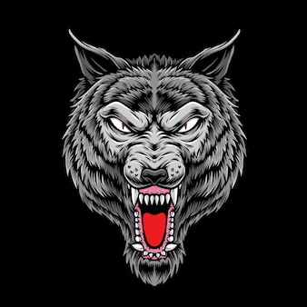 Cabeza de lobo de ira aislada en negro