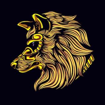 Cabeza de lobo con máscara